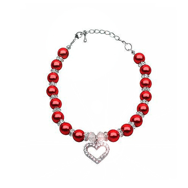Heart and Pearl Single Strand Pet Dog Necklace - Red
