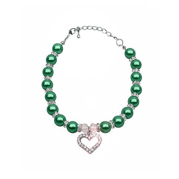 Heart and Pearl Single Strand Pet Dog Necklace - Emerald Green