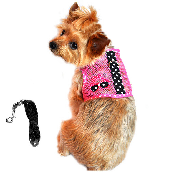 Cool Netted Dog Harness - Sunglasses Pink & Black