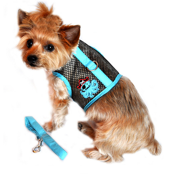 Cool Netted Dog Harness - Octopus Pirate Blue & Black