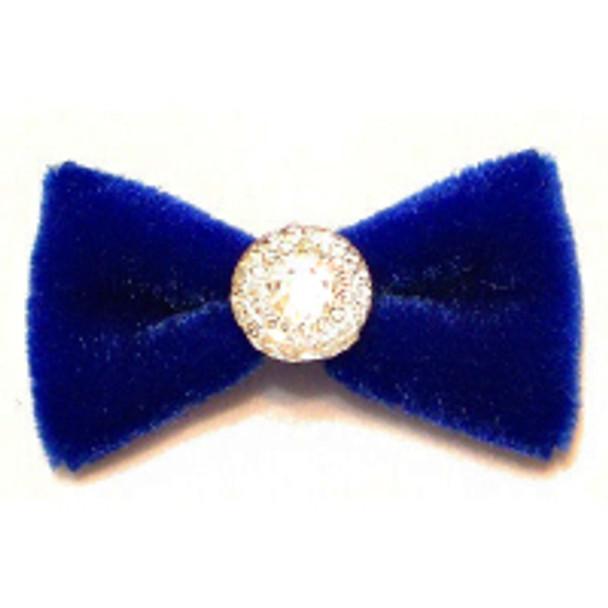 Dog Hair Bow Barrette - Royal Blue Velvet & Sparkle