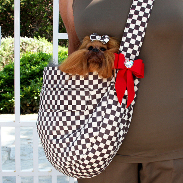 Windsor Check w/ Red Tail Bow Heart Cuddle Dog Carrier by Susan Lanci Designs