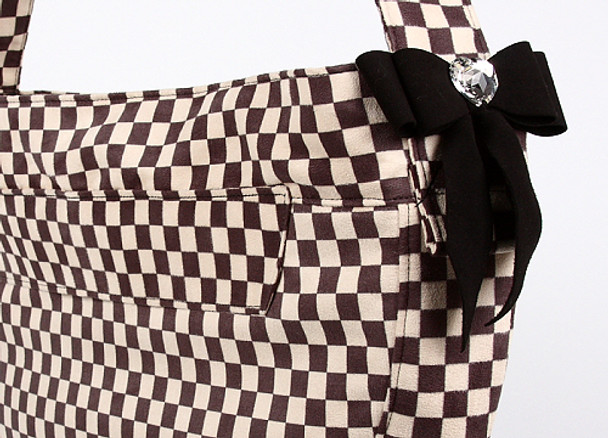 Windsor Check w/ Black Tail Bow Heart Cuddle Dog Carrier by Susan Lanci Designs