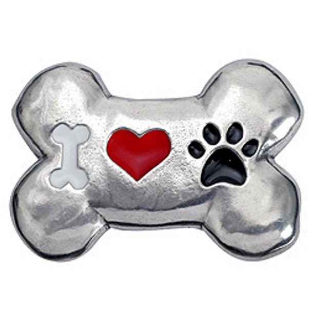 Pewter Bone Dog Magnet - Bone / Heart / Paw