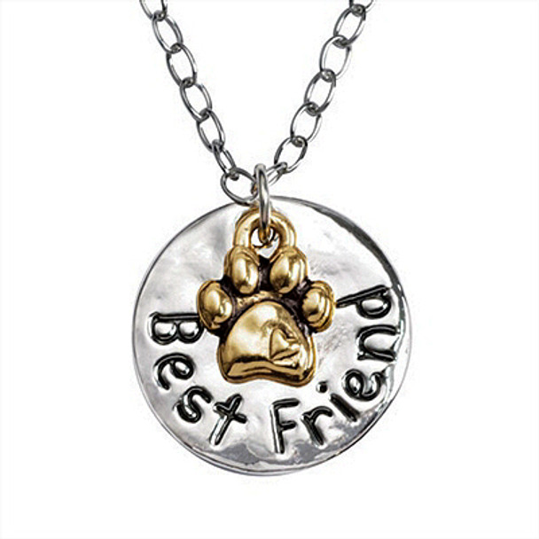 """2-Tone Best Friend / Paw Pewter Pendant on 20"""" Curb Chain - Engravable"""