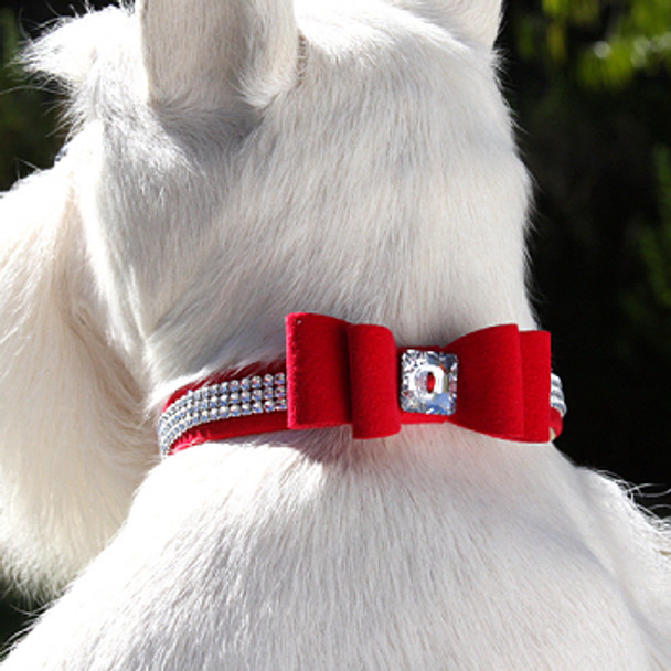 Wide Big Bow 3 Row Giltmore Dog Collar - Susan Lanci
