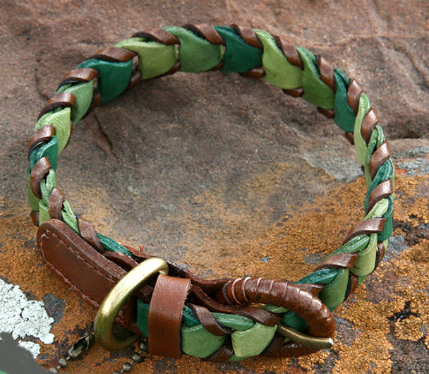 Shades of Green Leather Dog Collar - Size 10