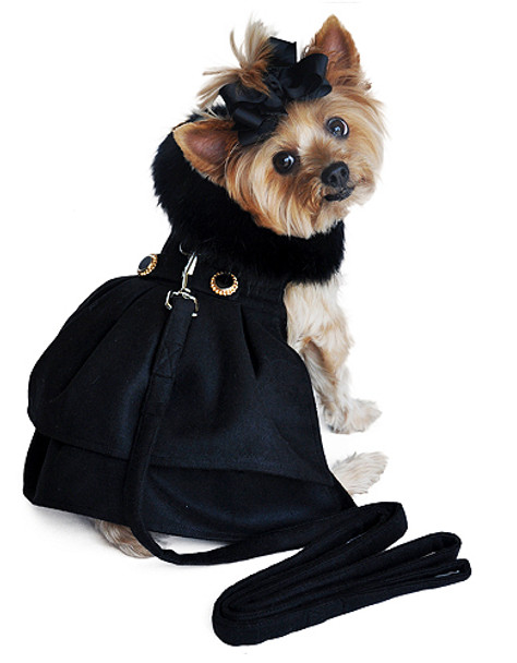 Black Wool Fur Collar Harness Dog Coat & Leash