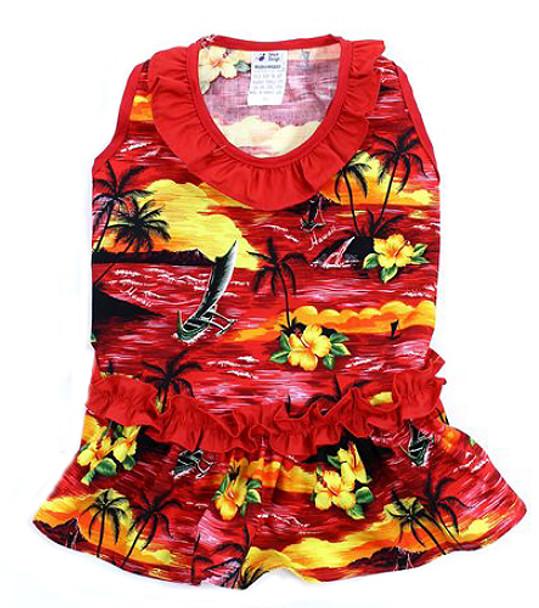 Red Beach Hawaiian Dog Dress