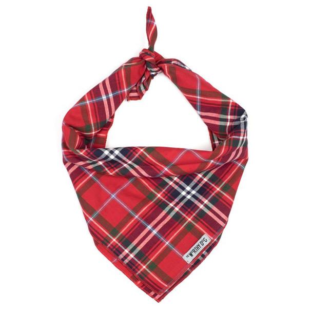Red Plaid Dog Tie Bandana