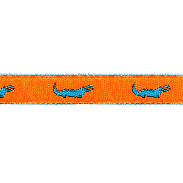 Orange Alligator 1/2, 3/4 & 1.25 inch Dog & Cat Collar, Harness