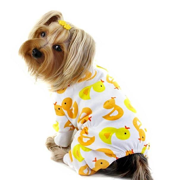 Yellow Ducky Cotton Knit Dog Pajamas