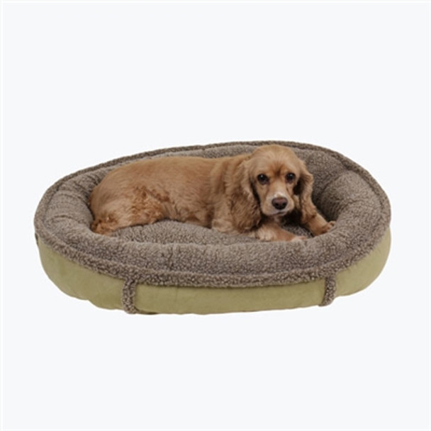 Faux Suede & Tipped Berber Round Comfy Cup Dog Bed - Sage Green