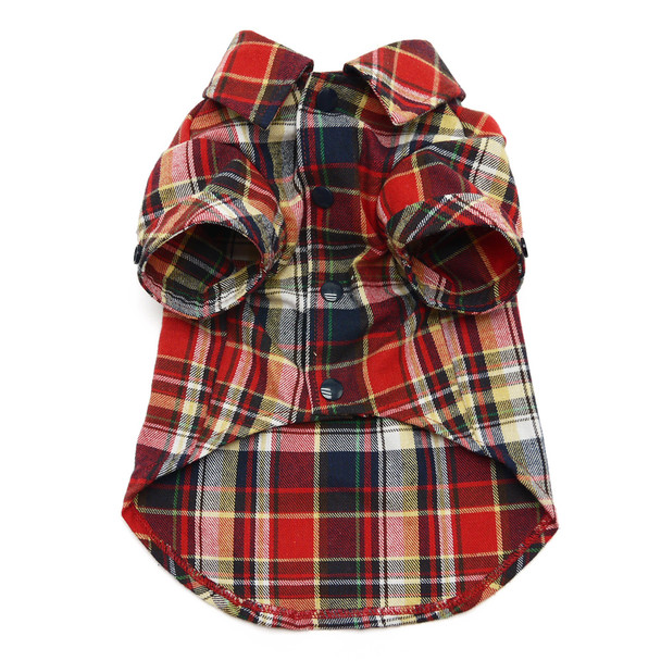 Red Plaid Flannel Button Down Dog Shirt