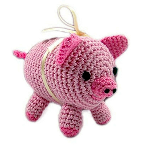 Pink Piggy Boo Organic Cotton Crocheted Dog Toys