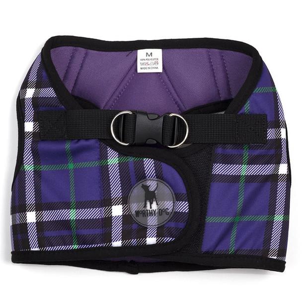 Worthy Dog Step-in Sidekick Dog Harness - Purple Plaid