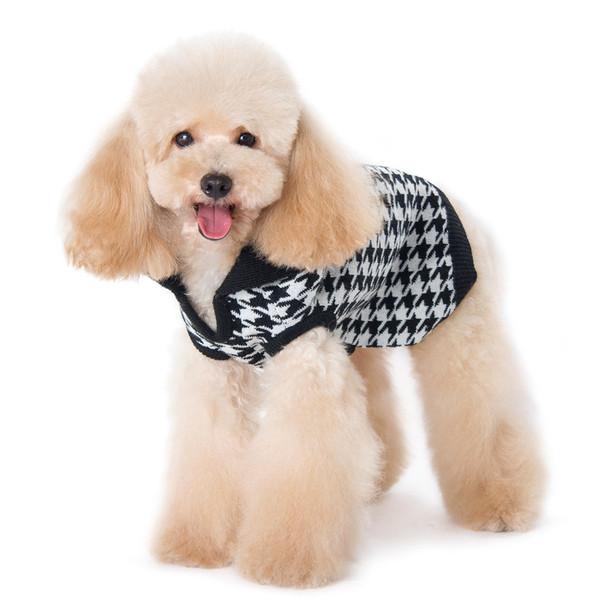 Houndstooth B&W Dog Sweater
