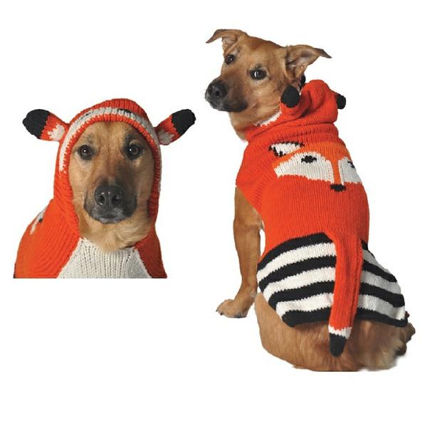 Foxy Hoodie Hand Knit Dog Sweaters