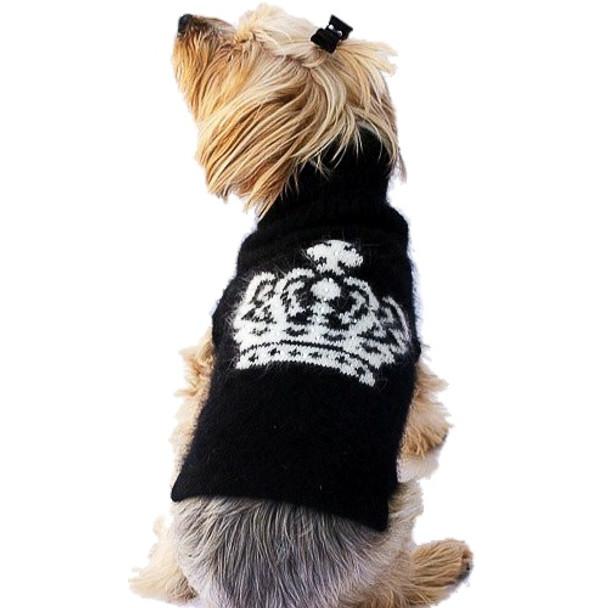 Luxury Diana Crown Angora Blend Dog Turtleneck Sweater, Black & White