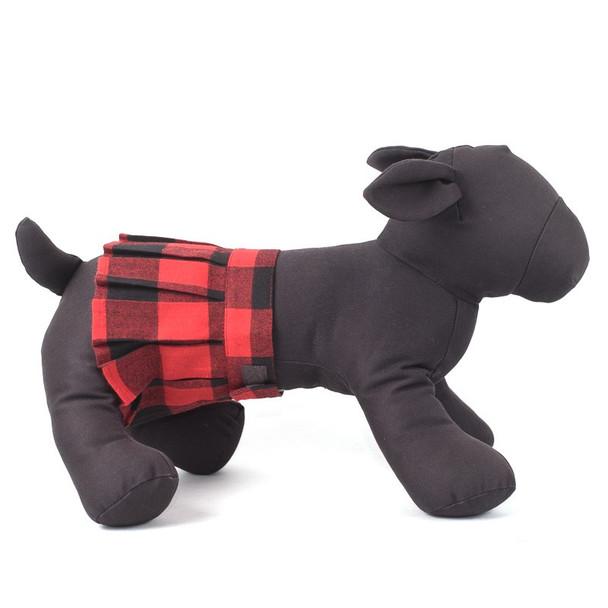 Red Buffalo Plaid Pleated Pet Dog Skirt