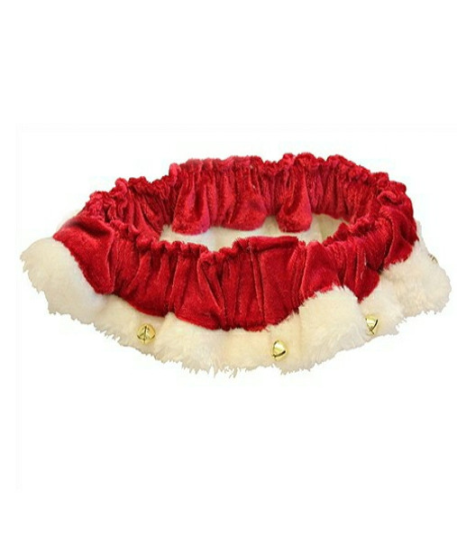 Red Santa Holiday Pet Ruff with Bells