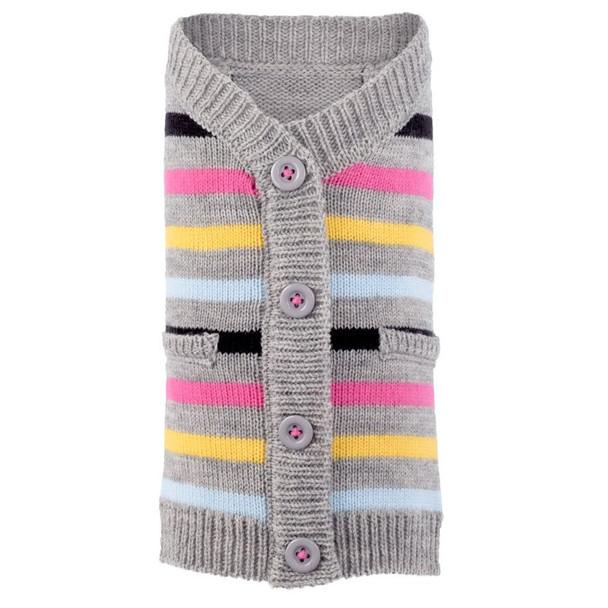 Stripe Pink Dog Cardigan Sweater