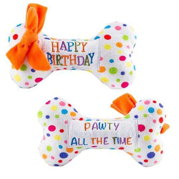 Happy Birthday Bone Plush Dog Toy