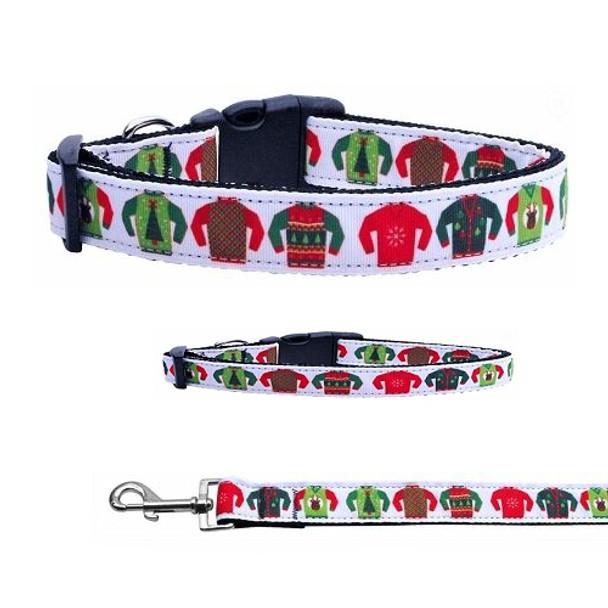 Ugly Sweaters Christmas Nylon Dog & Cat Collar & Matching Leash