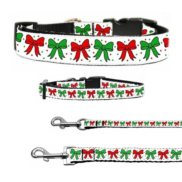 Christmas Bows Nylon Dog & Cat Collar & Matching Leash
