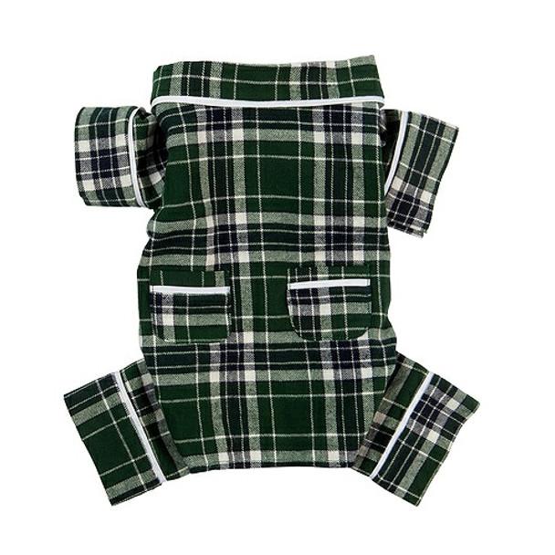 Green Plaid Flannel Dog Pajamas