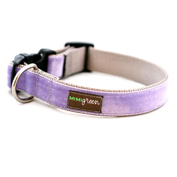 Light Purple Velvet Dog Collar & Optional Leash - Violet