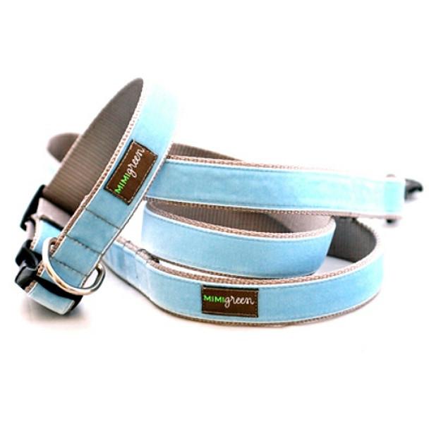 Light Blue Velvet Dog Collar & Optional Leash - River