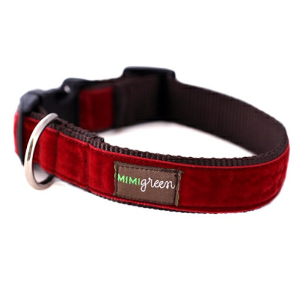Red Velvet Dog Collar & Optional Leash - Holly