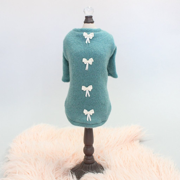 Teal Dainty Bow Angora Dog Sweater