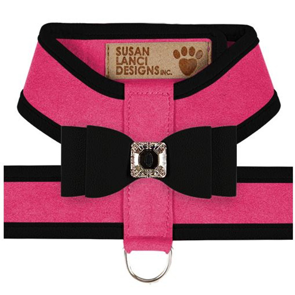 Big Bow Tinkie Harnesses - Pink Sapphire / Black Trim & Bow