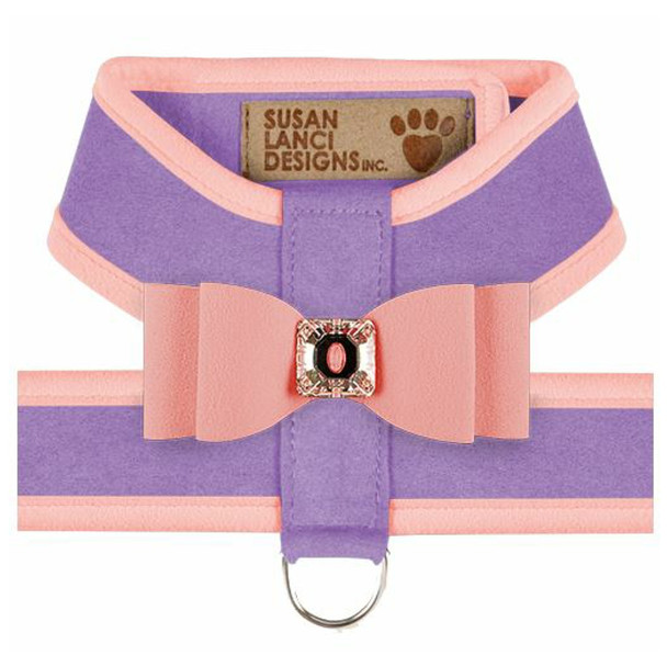 Big Bow Tinkie Harnesses - French Lavender / Puppy Pink Trim & Bow