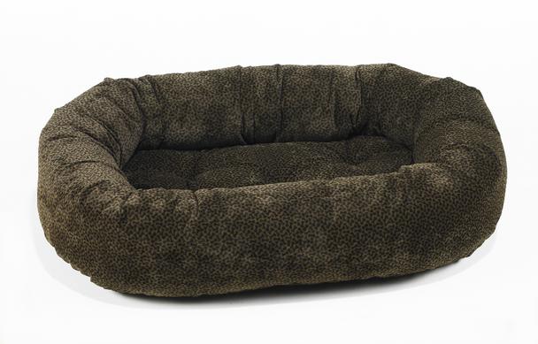 Chocolate Bones Microvelvet Donut Pet Dog Bed