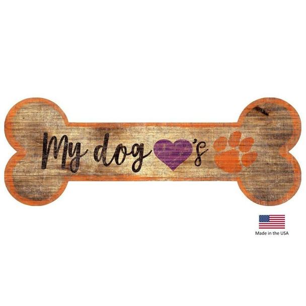 Clemson Tigers Distressed Dog Bone Wooden Sign