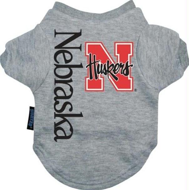 NCAA Nebraska Cornhuskers Pet Dog Tee T-shirt Gray