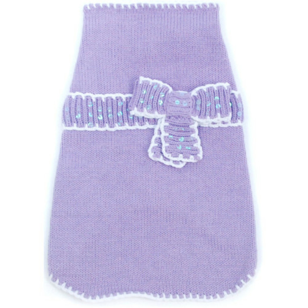 Take A Bow Lavender Dog Sweater