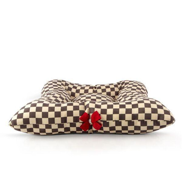 Windsor Check Square Dog Bed w/Red Nouveau Bow