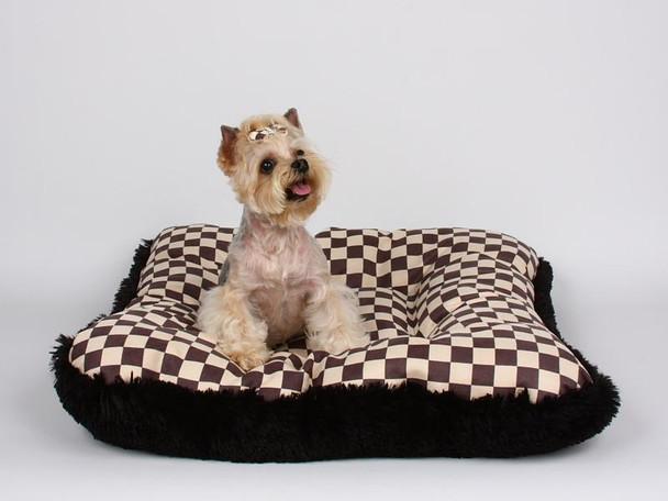 Windsor Check Square Dog Bed w/Black Shag