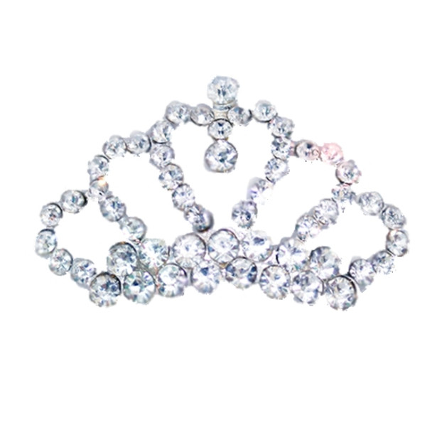 Tiny Tiara, Brilliant Rhinestone Dog Hair Barrettes