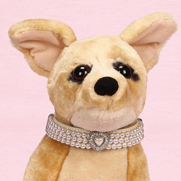 Triple Strand Pearl Choker Dog Collar with Rhinestone Heart