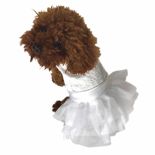 Fufu Tutu Dog Dress - White