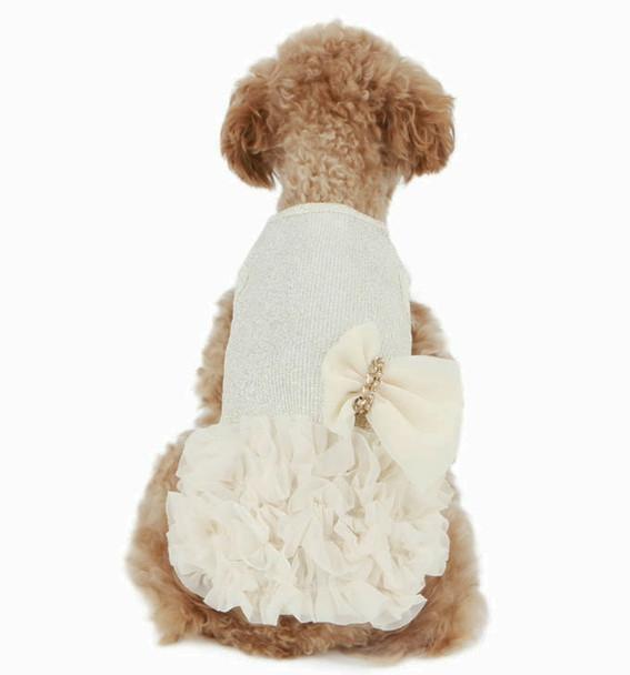 Luxury Frilled Dog Dress - White / Gold