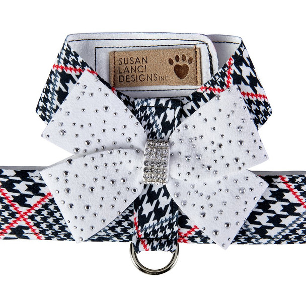 Classic Glen Houndstooth Stardust White Nouveau Bow Tinkie Dog Harness