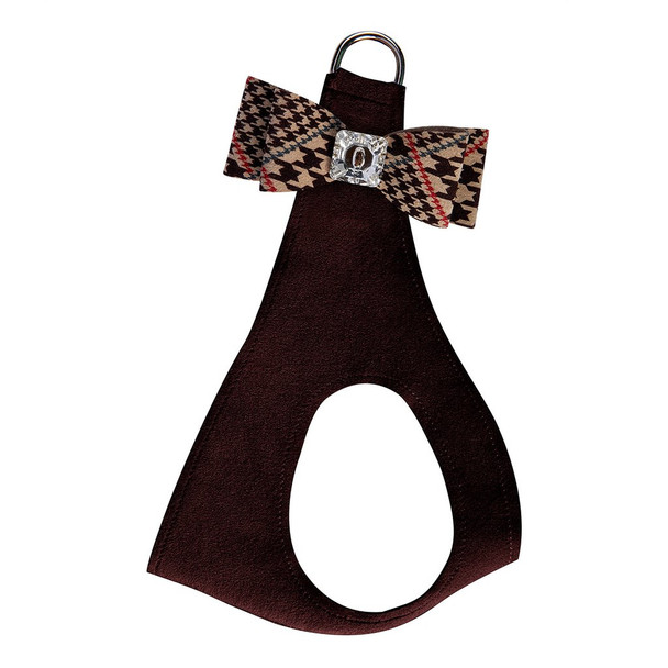Chocolate Glen Houndstooth Big Bow Step In Harness - Choose Color