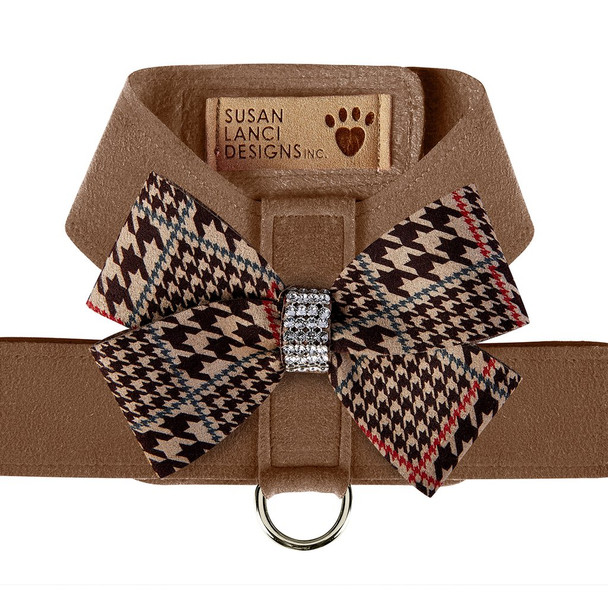 Custom - Chocolate Houndstooth Nouveau Bow Tinkie Dog Harness