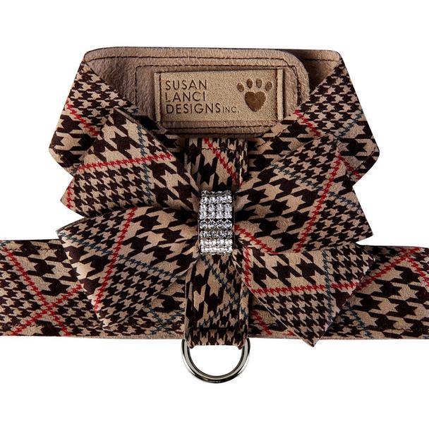 Chocolate Houndstooth Nouveau Bow Tinkie Dog Harness